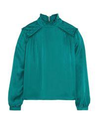 Balmain Green Washed-silk Blouse