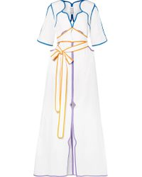 Rosie Assoulin - White Belted Color-block Cotton-poplin Maxi Dress - Lyst