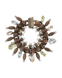 Givenchy | Brown Rose Gold-Tone, Crystal, Obsidian And Rosewood Bracelet | Lyst