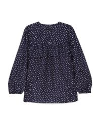 J.Crew - Blue Dorito Printed Cotton And Silk-blend Voile Blouse - Lyst