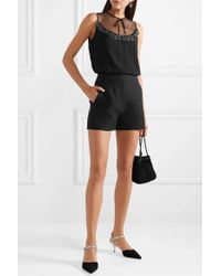 Miu Miu - Black Embellished Lace And Tulle-trimmed Crepe De Chine Blouse - Lyst