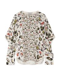 Jason Wu - White Ruffled Floral-print Silk Crepe De Chine Shirt - Lyst
