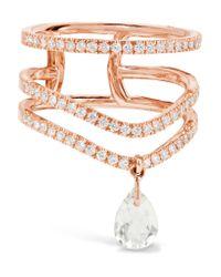 Diane Kordas - Metallic 18-karat Rose Gold, Diamond And Prasiolite Ring - Lyst