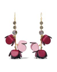 Marni - Metallic Gold-tone, Leather, Crystal And Resin Earrings - Lyst