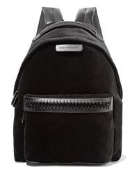 Stella McCartney - Black The Falabella Go Faux Leather-trimmed Velvet Backpack - Lyst