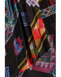 Etro | Black Cape-effect Printed Plissé Silk-chiffon Gown | Lyst