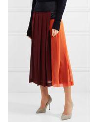 Victoria Beckham - Red Paneled Pleated Georgette Midi Skirt - Lyst