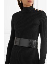 Balmain   Black Smooth And Croc-effect Leather Waist Belt   Lyst
