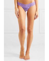 Hanky Panky - Purple Signature Set Of Three Stretch-lace Thongs - Lyst