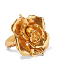 Oscar de la Renta - Metallic Rosette Gold-tone Ring - Lyst