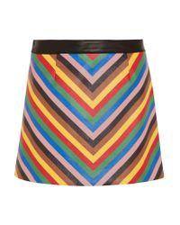 Sara Battaglia   Blue Rainbow Striped Leather Mini Skirt   Lyst
