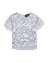 Needle & Thread - Blue Meadow Cropped Embroidered Tulle Top - Lyst