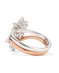 YEPREM - Metallic 18-karat Rose And White Gold Diamond Ring - Lyst