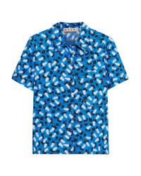 Marni - Blue Printed Cotton-poplin Shirt - Lyst