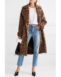Michael Kors Brown Leopard-print Llama And Wool-blend Coat
