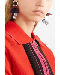 Marni - Red Silver-tone And Leather Earrings - Lyst