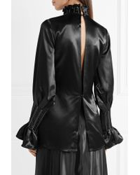 Beaufille - Black Athena Open-back Ruffled Satin Blouse - Lyst