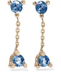 Wwake - Metallic Two-step 14-karat Gold Sapphire Earrings - Lyst