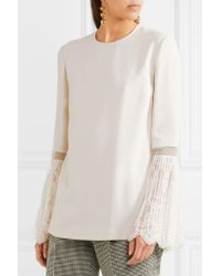 Stella McCartney - White Lace-trimmed Crepe Blouse - Lyst