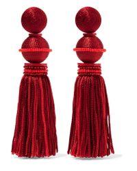 Oscar de la Renta - Red Ball & Tassel Drop Clip On Earrings - Lyst