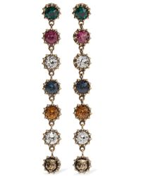 Gucci - Metallic Burnished Gold-tone Crystal Earrings - Lyst