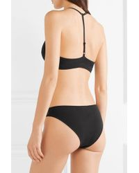 Skin - Black Onyx Tulle-trimmed Stretch Organic Pima Cotton-jersey Briefs - Lyst