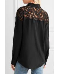 Stella McCartney - Black Frederika Lace-paneled Silk Crepe De Chine Shirt - Lyst