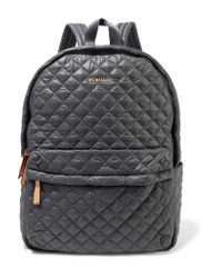 MZ Wallace - Gray Metro Medium Leather-trimmed Quilted Shell Backpack - Lyst