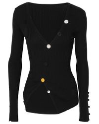 Jacquemus - Black Tordu Asymmetric Ribbed Cotton Cardigan - Lyst