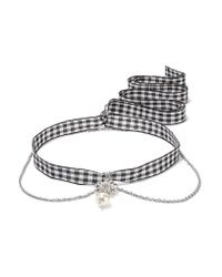 Miu Miu   Metallic Gingham Cotton, Silver-tone, Crystal And Faux Pearl Necklace   Lyst