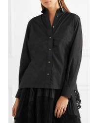 Sacai - Black Poplin And Pleated Lace Shirt - Lyst