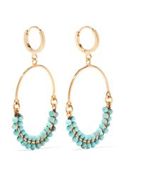 Isabel Marant - Metallic Gold-plated Beaded Earrings Gold One Size - Lyst