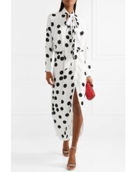 Monique Lhuillier - White Wrap-effect Pussy-bow Polka-dot Chiffon Midi Dress - Lyst