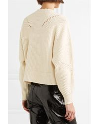 Isabel Marant - Natural Lacy Lace-up Pointelle-knit Cotton-blend Sweater - Lyst