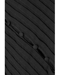 Antonio Berardi - Black Button-detailed Pleated Crepe Top - Lyst