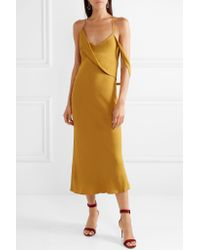 Michelle Mason - Multicolor Backless Draped Crepe Midi Dress - Lyst