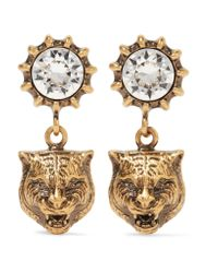 Gucci - Metallic Crystal-embellished Earrings - Lyst
