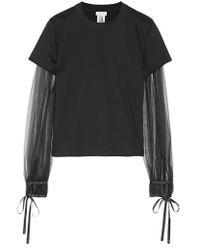 Noir Kei Ninomiya - Black Tulle-paneled Cotton-jersey Top - Lyst