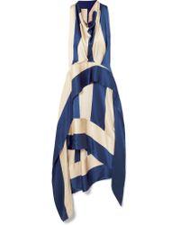 Petar Petrov - Blue Asymmetric Striped Silk-satin Midi Dress - Lyst