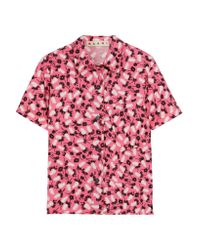 Marni - Pink Printed Cotton-poplin Shirt - Lyst