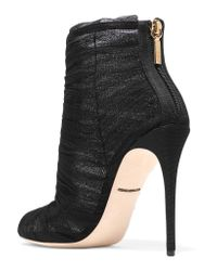 Dolce & Gabbana Black Mesh And Tulle Ankle Boots