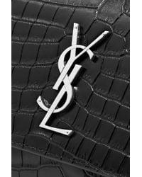Saint Laurent - Black Sunset Medium Croc-effect Leather Shoulder Bag - Lyst