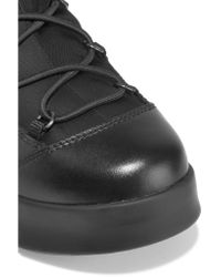 Prada - Black Leather-trimmed Canvas And Rubber Boots - Lyst
