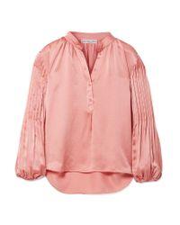 Apiece Apart - Pink Bravo Pleated Hammered Silk-satin Blouse - Lyst