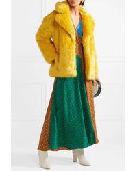 Diane von Furstenberg - Yellow Faux Fur Coat - Lyst