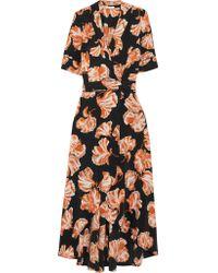 Ganni | Black Floral Print Wrap Dress | Lyst