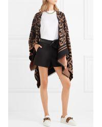 Fendi - Multicolor Wool And Silk-blend Jacquard Poncho - Lyst
