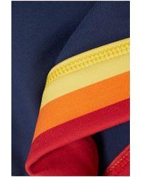 Perfect Moment - Blue Cutout Striped Stretch Sports Bra - Lyst