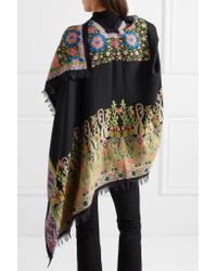 Etro - Black Embroidered Wool-blend Wrap - Lyst