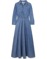 Gabriela Hearst - Blue Marley Embroidered Cotton-chambray Midi Dress - Lyst